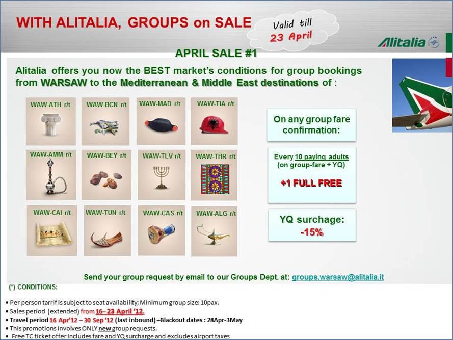 ALITALIA promocja dla grup 10 plus 1 gratis!